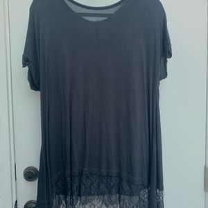 Black tee with lace bottom, loose fit
